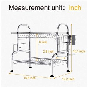 Dish Drying Rack with Drainboard, 2 Tier